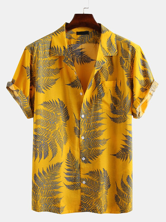 Cotton Loose Shirt Beach Hawaii Print Casual Tops Lapel with Size Men Fashion Shirt,Yellow,XL,C