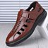 Men Hook Loop Hollow Out Breathale Soft Leather Shoes