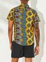 Men's Printed Patchwork National Style Short Sleeve Cotton Breathable Casual Loose Shirt