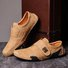 Men Hand Stitching Leather Hook Loop Soft Casual Driving Shoes