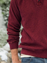 Red Cotton-Blend Casual Hoodie Plain Sweatshirt