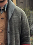Gray Shawl Neck Casual Striped Sweater