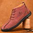 Men Microfiber Leather Hand Stitching Non Slip Casual Ankle Boots